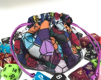 Dice bag - Rainbow dice bag - Dungeons and Dragons dice bag - Polyhedral dice bag - Dice Pouch - Pathfinder dice bag - Bag of Holding