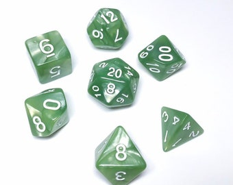 Pale Green Pearl Dice - 7 piece RPG dice set