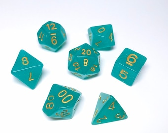 Teal Glitter Dice set - D&D dice set - green dice - glitter dice - Dungeons and Dragons dice set - Polyhedral dice set - Pathfinder Dice