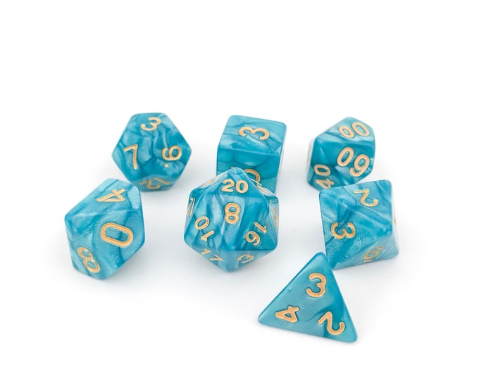 Teal Blue Dice - 7 Piece RPG Dice set
