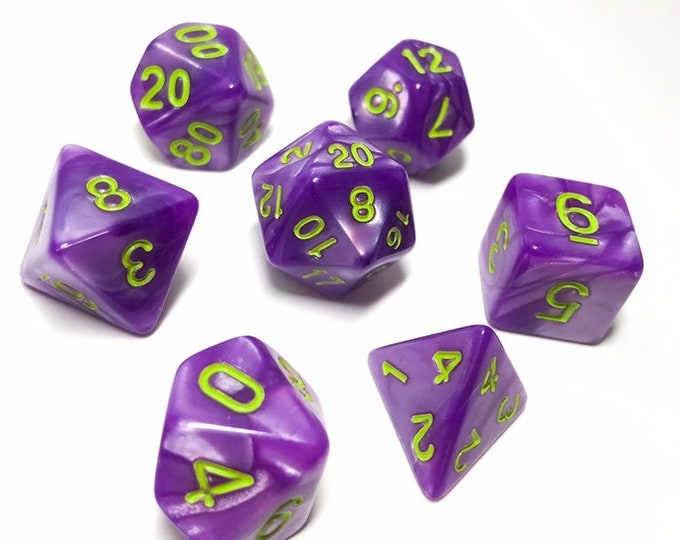 Purple Jester Dice - 7 Piece RPG dice set