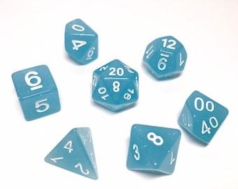 Sky Blue Glitter Dice set - D&D dice set - green dice - glitter dice - Dungeons and Dragons dice set - Polyhedral dice set - Pathfinder Dice