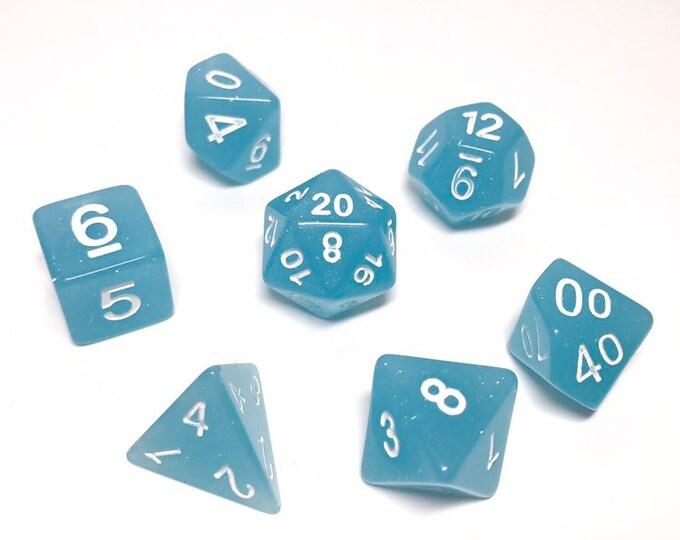 Sky Blue Glitter Dice - 7 piece RPG dice set