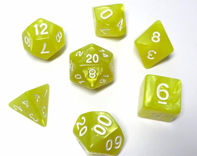 Sherbet Lemon Dice - 7 Piece RPG dice set