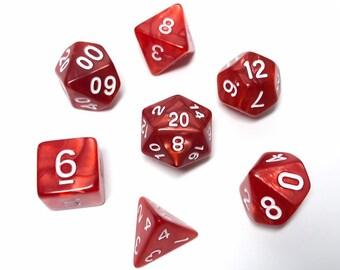 Red Pearl dice - 7 Piece RPG dice set