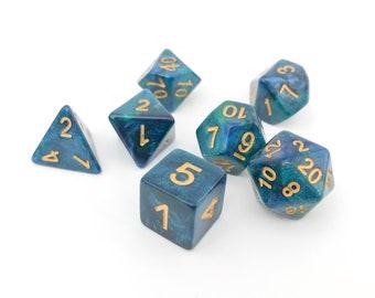 Galaxy dice - D&D dice set - DnD Dice set - Galaxy Dice set - Shimmer Dice set - Dungeons and Dragons dice - Mermaid dice set