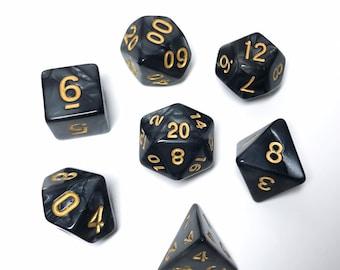Black Pearl Dice - 7 piece RPG dice set