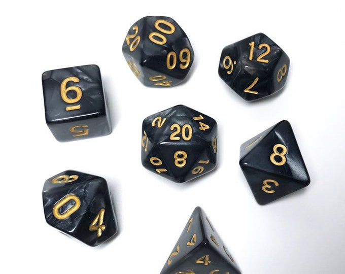 Black Pearl Dice - 7 piece RPG dice set