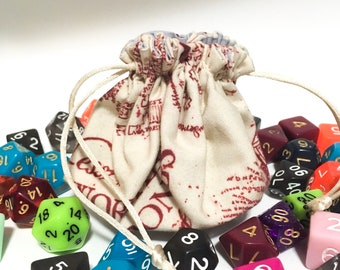 Marauders Map Dice pouch - Harry Potter dice bag - Dungeons & Dragons dice bag - Dice bag with dividers - Pathfinder dice bag - ttrpg dice