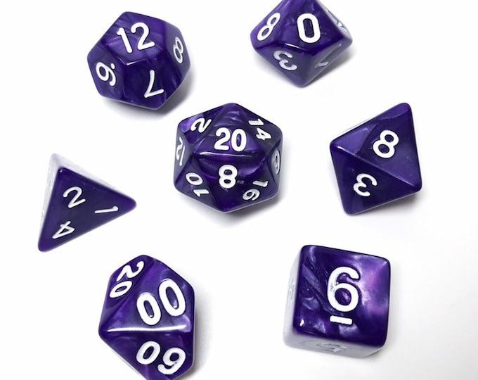 Purple Pearl Dice - 7 Piece RPG dice set