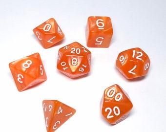 Creamsicle Dice - 7 piece RPG dice set