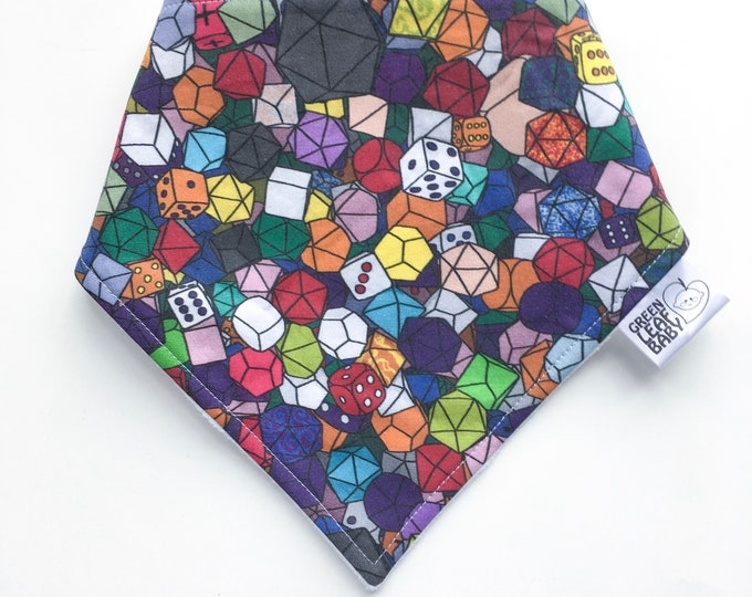 READY TO SHIP Dungeons and Dragons baby bib - Dice baby bib - Geeky baby bib - baby bandana bib