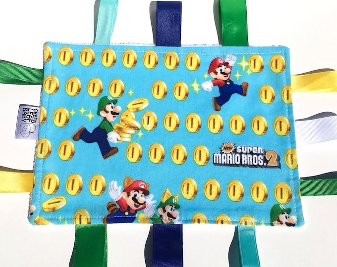 READY TO SHIP Super Mario baby blanket - Video game baby taggie blanket - video game lovey blanket - gamer baby gift