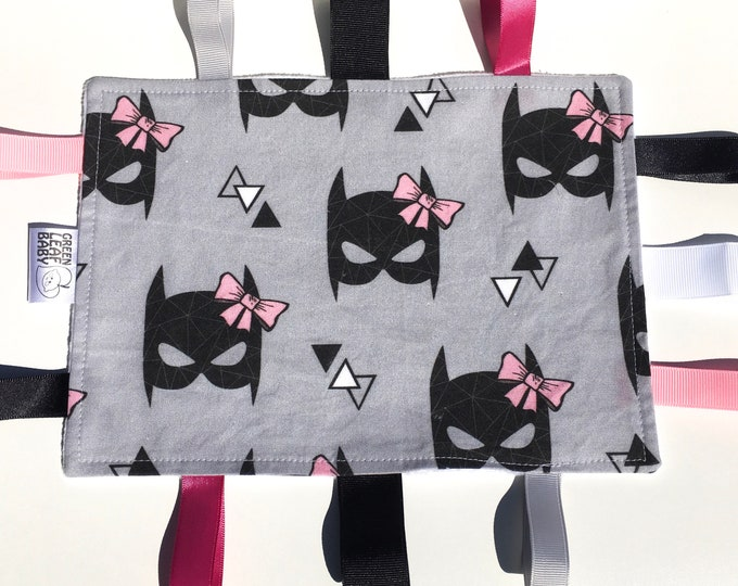 READY TO SHIP Batgirl baby taggie blanket - Batgirl baby lovey blanket - Superhero baby blanket
