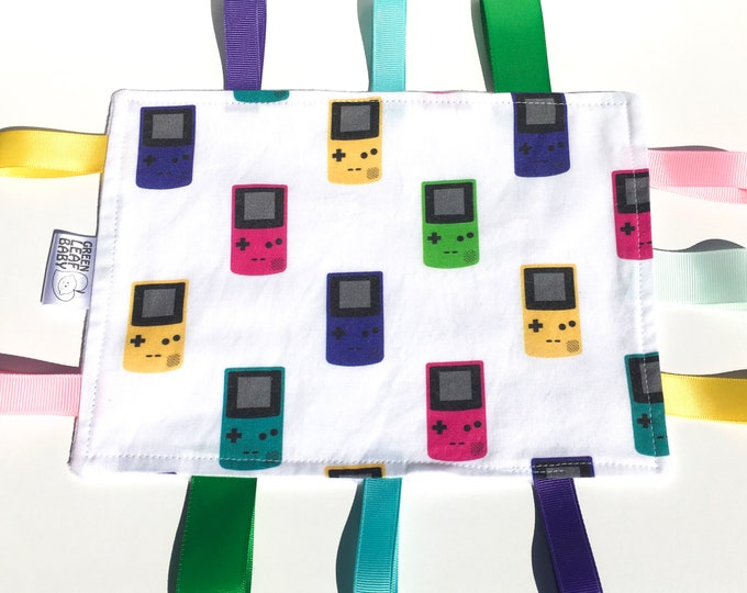 READY TO SHIP GameBoy baby blanket - Video gamer baby taggie blanket - GameBoy lovey blanket - gamer baby gift