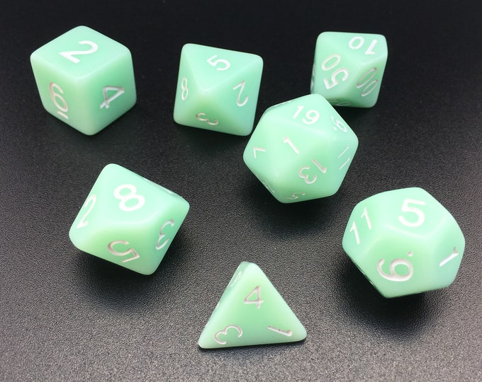 SPECIAL Mint Green Dice set - Dungeons and Dragons dice - Polyhedral dice READ LISTING