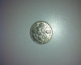 1965 Wedding Sixpence Coin - Lucky Wedding Sixpence for the Bride