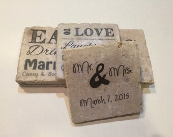 Personalized Coasters Variety Set, Textured Stone Tile, Wedding Gift, Wedding Favors, Set of 6
