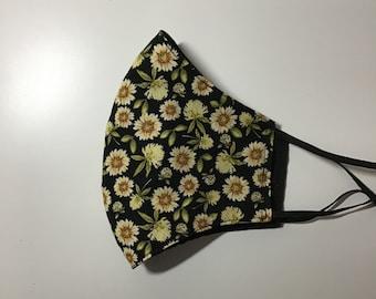 Women's Yellow Flowers Face Mask