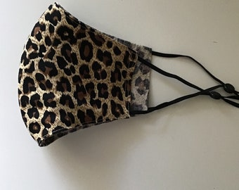 Women's Reversible Leopard Face Covering, Adjustable, Washable & Reusable Face Mask, 100% Cotton and Made in the USA