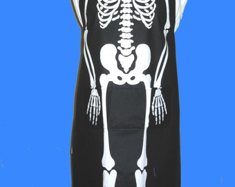Skeleton Apron,Apron, Full Length Apron, Halloween Apron,Skeleton,Barbeque Cookout,Vintage, Homemade