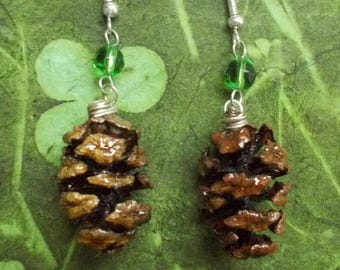 Redwood Pinecone with Grass Green Earrings #65-11