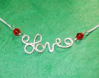 LOVE Red Crystal Adjustable Necklace (D)