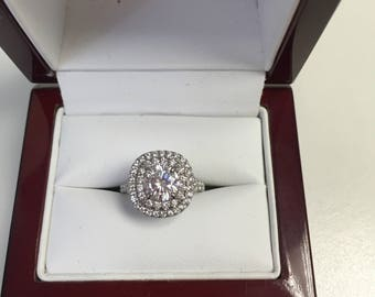 0f7649aaaa6628 Cushion Diamond Double Halo Split Shank Engagement Ring with 6.5mm Round  Forever One Moissanite (1.00DEW) from Charles & Colvard