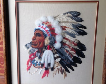 Native American Embroidery Needlepoint Plains Indian Full Feathered Headdress Vintage Framed