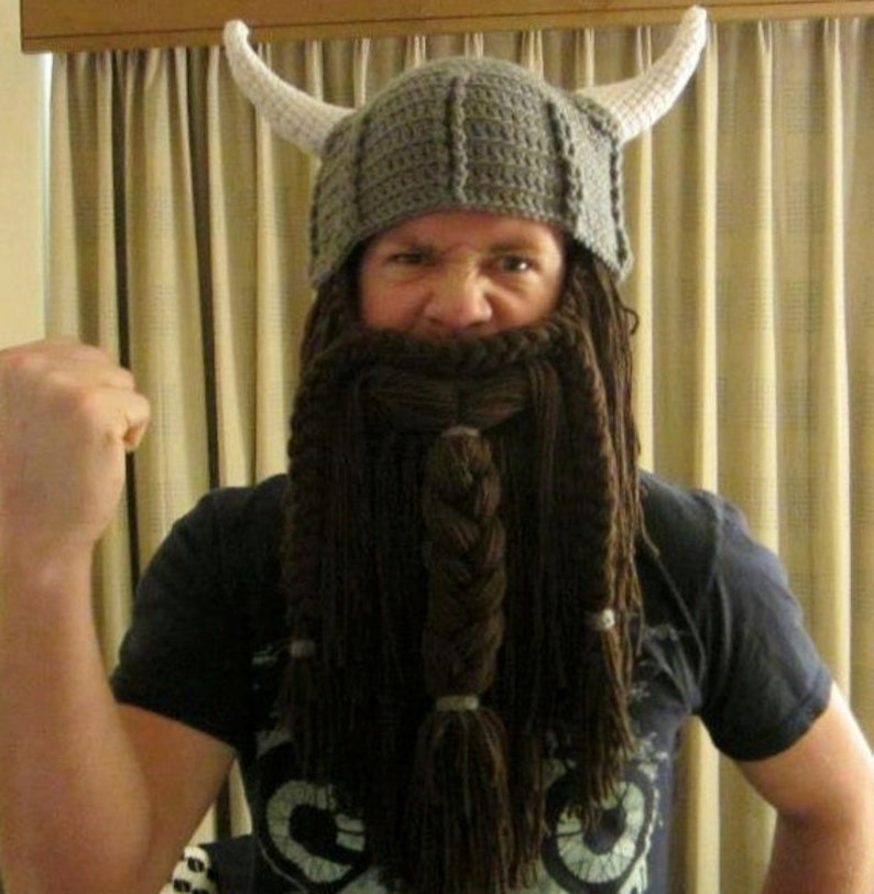 5d53c39b Brown Beard. Viking or Dwarven Hat With Horns and Beard.