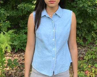 Light Wash Denim Sleeveless Collared Button Down Top