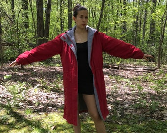 Red Lands End Fleece Lined Waterproof Hooded Parka