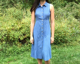 Vintage Denim Sleeveless Collared Button Down Midi Dress with Raw Hem