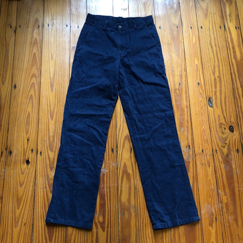 Vintage Navy Blue Canvas High Waisted Izod Slim Fit Pants Trousers Bottoms Simple Staple 25 inch waist