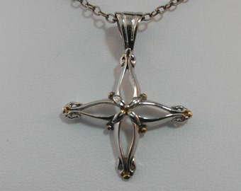 Sterling Silver Necklace with Tarnish Resist Coated Cross