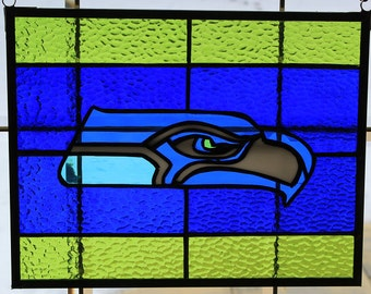 Stained Glass Seattle  Seahawks panel