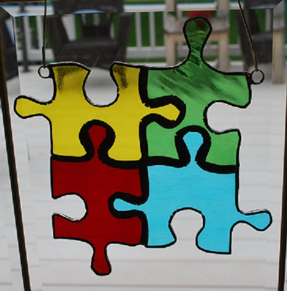Autism Awareness Stained Glass Puzzle Piece