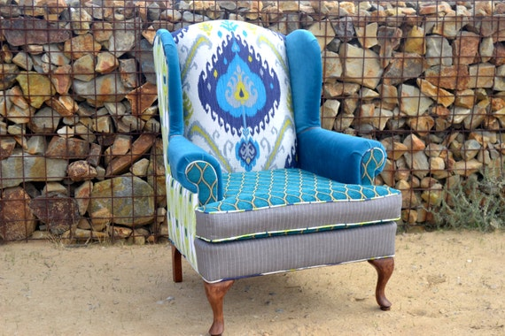 Excellent Custom Vintage Upholstered Wingback Chair Upcycled Peacock Upholstered Chairs Accent Chair Living Room Chair Arm Chair Unemploymentrelief Wooden Chair Designs For Living Room Unemploymentrelieforg