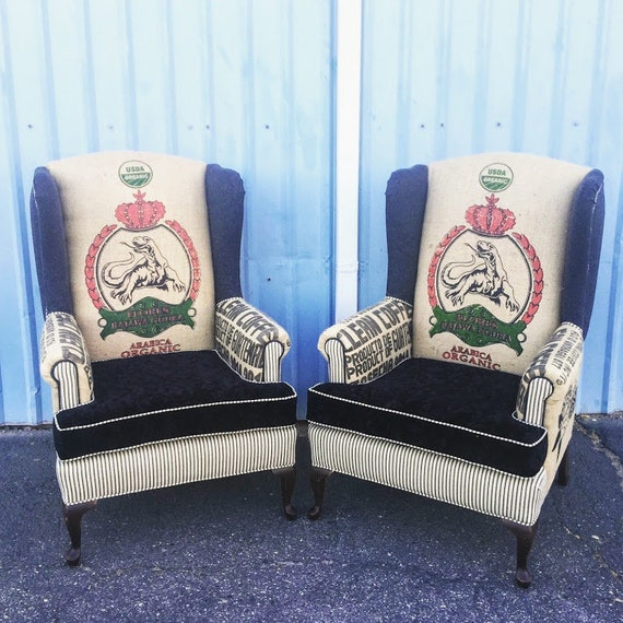 Miraculous Wingback Upholstered Chairs With Clean Jute Coffee Sacks Ticking Stripe And Black Crushed Velvet Arm Chairs Accent Chairs Evergreenethics Interior Chair Design Evergreenethicsorg