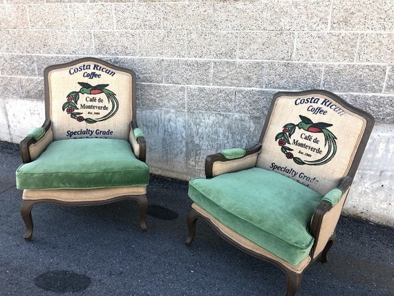 Bergere French Arm Chairs with Coffee Burlap Jute Sack and Green Velvet //  Living Room Chairs // Accent Chairs // Burlap Chairs