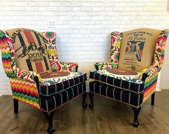 Wingback Chairs with Brindle Cowhide, Coffee Bean Burlap Jute Sacks, and Bright Fabrics // Vintage Upholstered Chairs // Up-Cycled Furniture