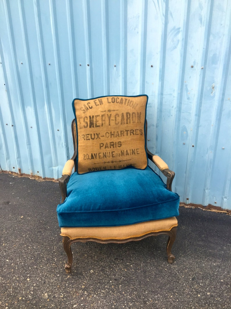 Chair Vintage Accent Arm Chair Organic Chemical Free Upcycled French Bergere Accent Chair Living Room Chair Farmhouse Burlap