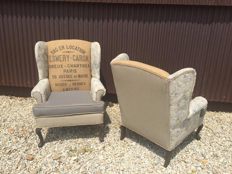 Sedie Francesi Usate : Wingback sedie con il sacco di tela vintage francese grigio etsy