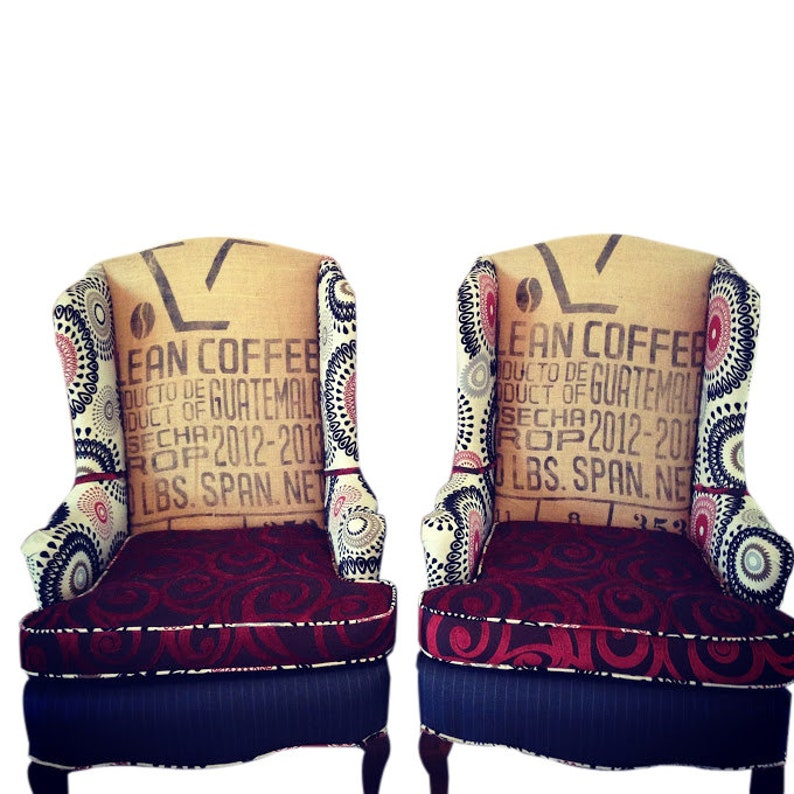 Superb Wingback Accent Chairs Upholstered With Clean Coffee Sacks And Textured Fabrics Accent Chair Farmhouse Decor Red And Black Bralicious Painted Fabric Chair Ideas Braliciousco