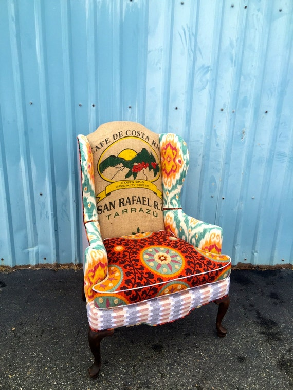 Marvelous Wingback Burnt Orange Accent Chair With Coffee Jute Sack And Color Upholstered Chair Up Cycled Furniture Living Room Chair Evergreenethics Interior Chair Design Evergreenethicsorg