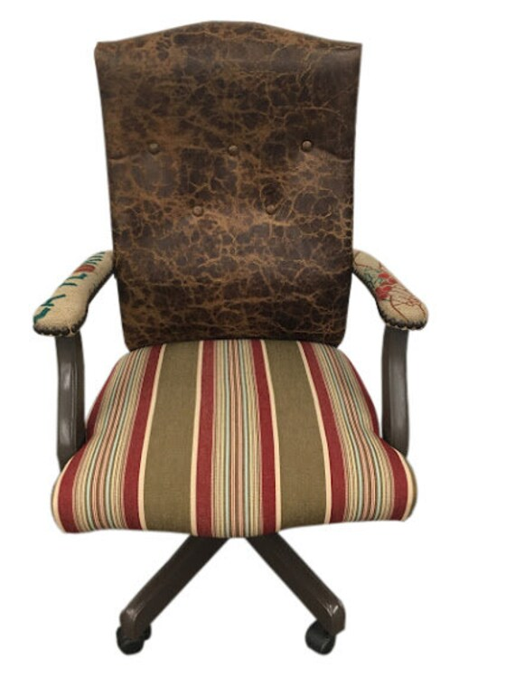 Superb Office Chair Rolling Desk Chair With Distressed Leather Coffee Bean Jute Sack Stripe Fabric Nail Work Personalized Customization Short Links Chair Design For Home Short Linksinfo