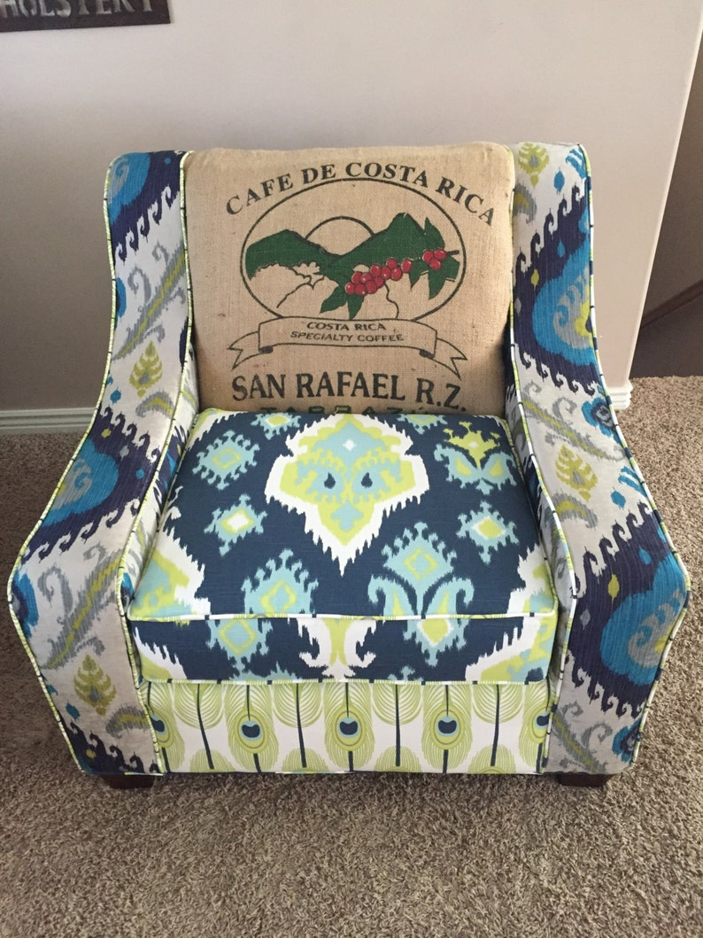 Outstanding Accent Chair Custom Handmade Oversized Curved Arm Chair Living Room Multi Colored Farmhouse Coffee Jute Sack Ibusinesslaw Wood Chair Design Ideas Ibusinesslaworg