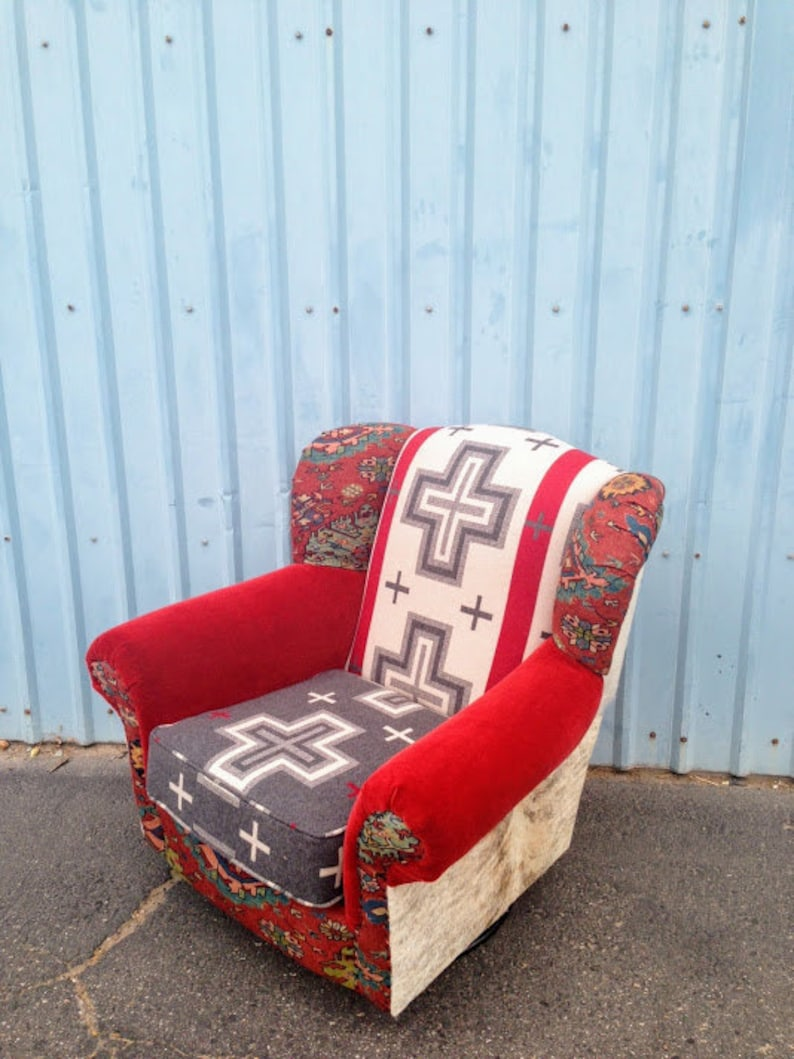 Southwestern Chair Rocker Swivel With Brindle Cowhide Pendleton Wool Red Velvet And Deconstructed Nailheads Rocking Chair