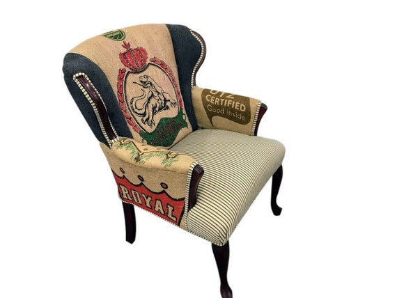 Remarkable Accent Chair Arm Chair Upholstered With Coffee Sack Burlap Jute And Ticking Stripe And Wool Living Room Chair Vintage Up Cycled Chair Evergreenethics Interior Chair Design Evergreenethicsorg