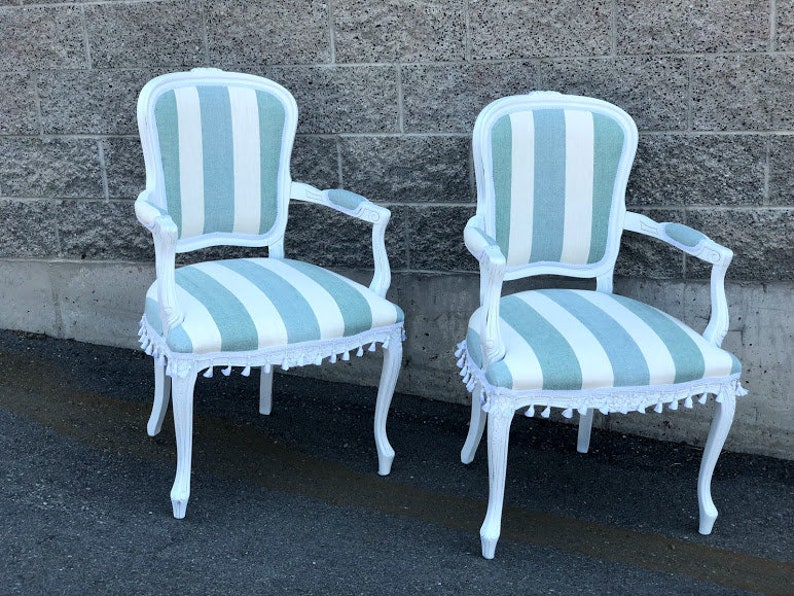 Beige Accent Chairs With Blue Stripes.Chair Accent Chair Arm Chair With Blue And White Stripes Painted White And Tassel Fringe Vintage Up Cycled Chair Beach House Decor